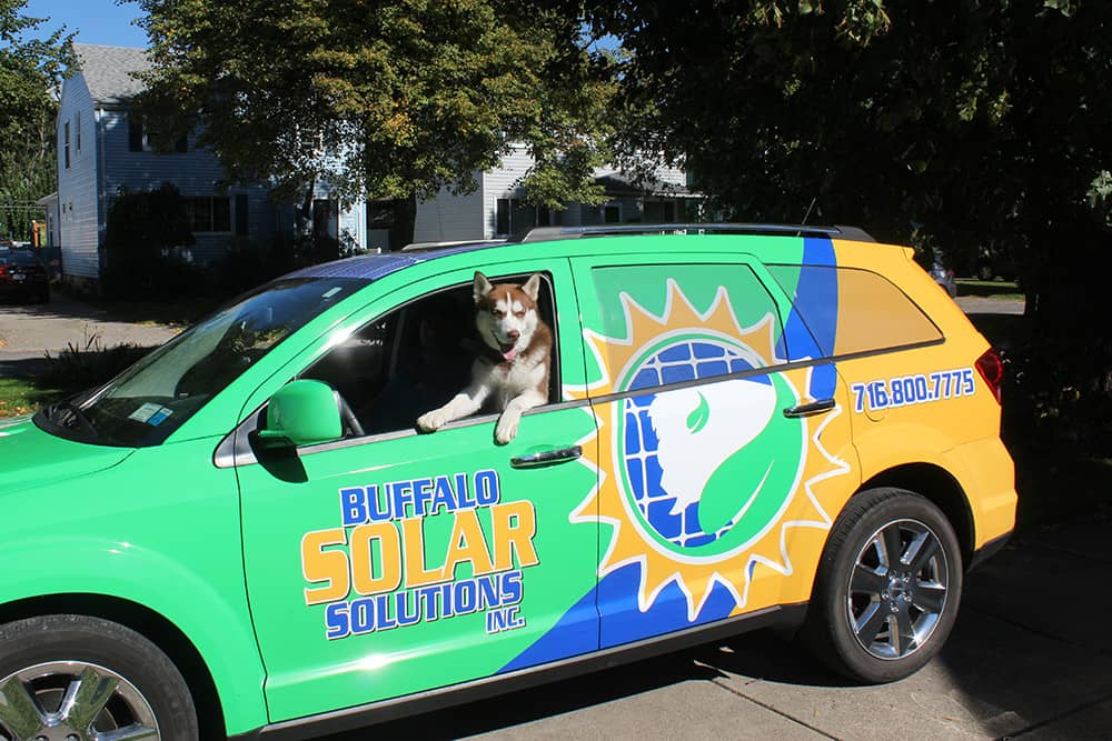 Buffalo Solar Solutions - Company Truck and Solar the Dog